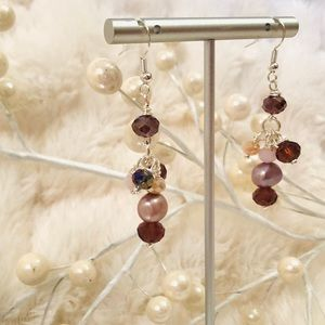 Frontrow.style Jewelry - Handmade Sterling Earrings Baroque Pearl Purple